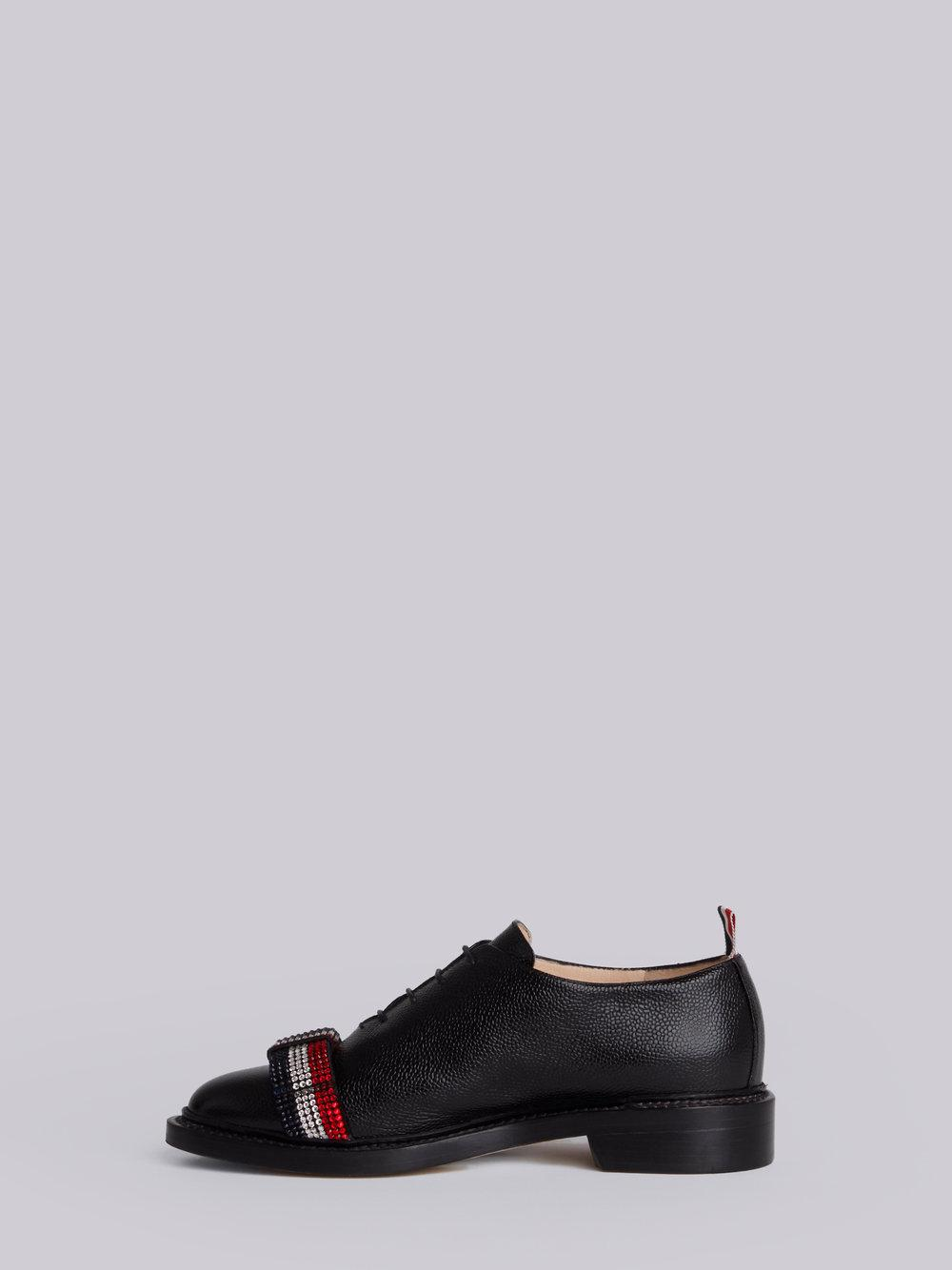 Wholecut With Bejewelled Bow & Leather Sole In Pebble Lucido Leather - Black Thom Browne RLnlyUBdPI