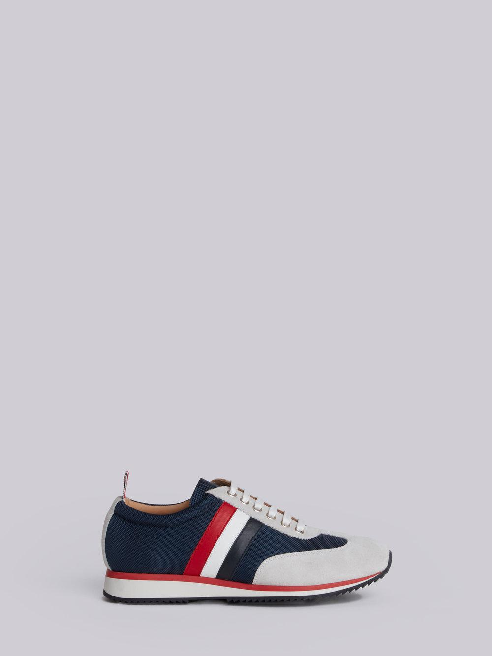 Running Shoe With Red, White And Blue Stripe In Cotton Blend Tech Thom Browne