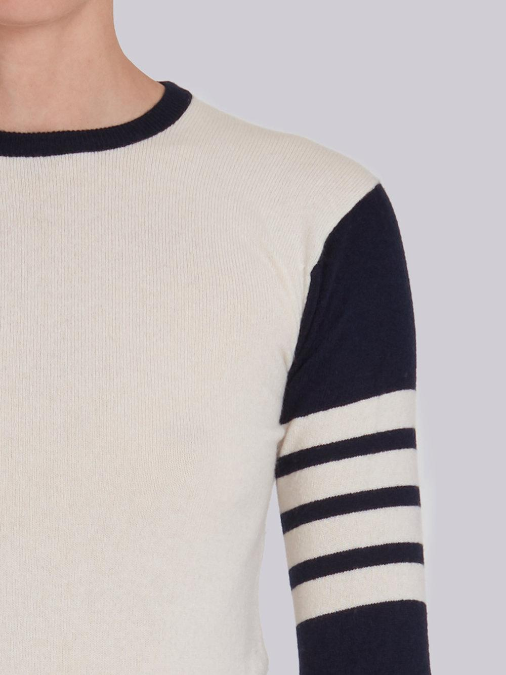 2018 New Classic Crewneck Pullover In Funmix Cashmere With 4-Bar Sleeve Stripe - Unavailable Thom Browne Fashionable For Sale Q5Bux