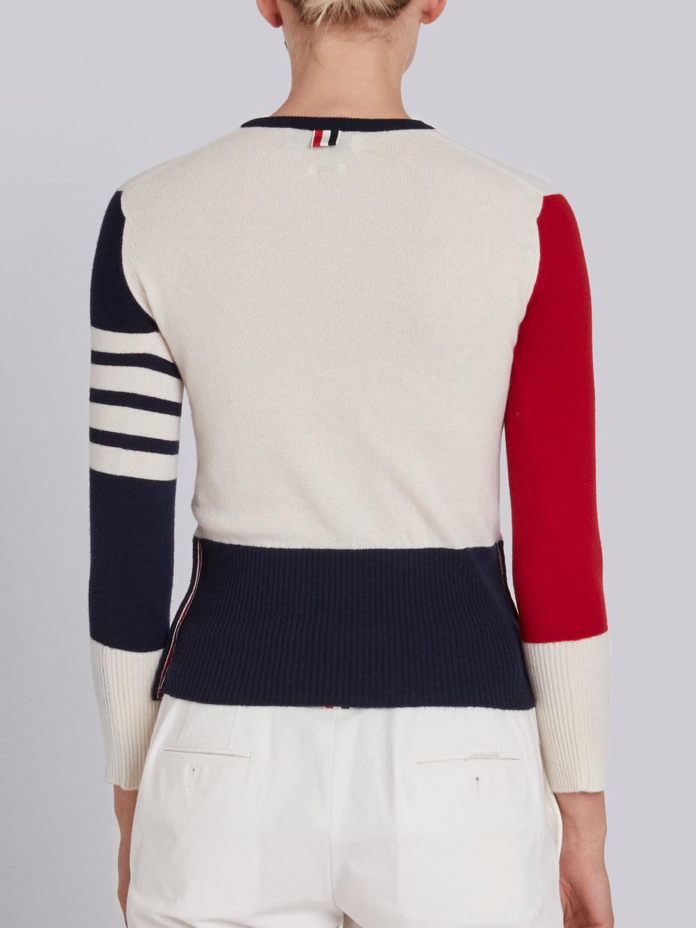 Classic Crewneck Pullover In Funmix Cashmere With 4-Bar Sleeve Stripe - Unavailable Thom Browne 2018 Online Order Online lIkk5s