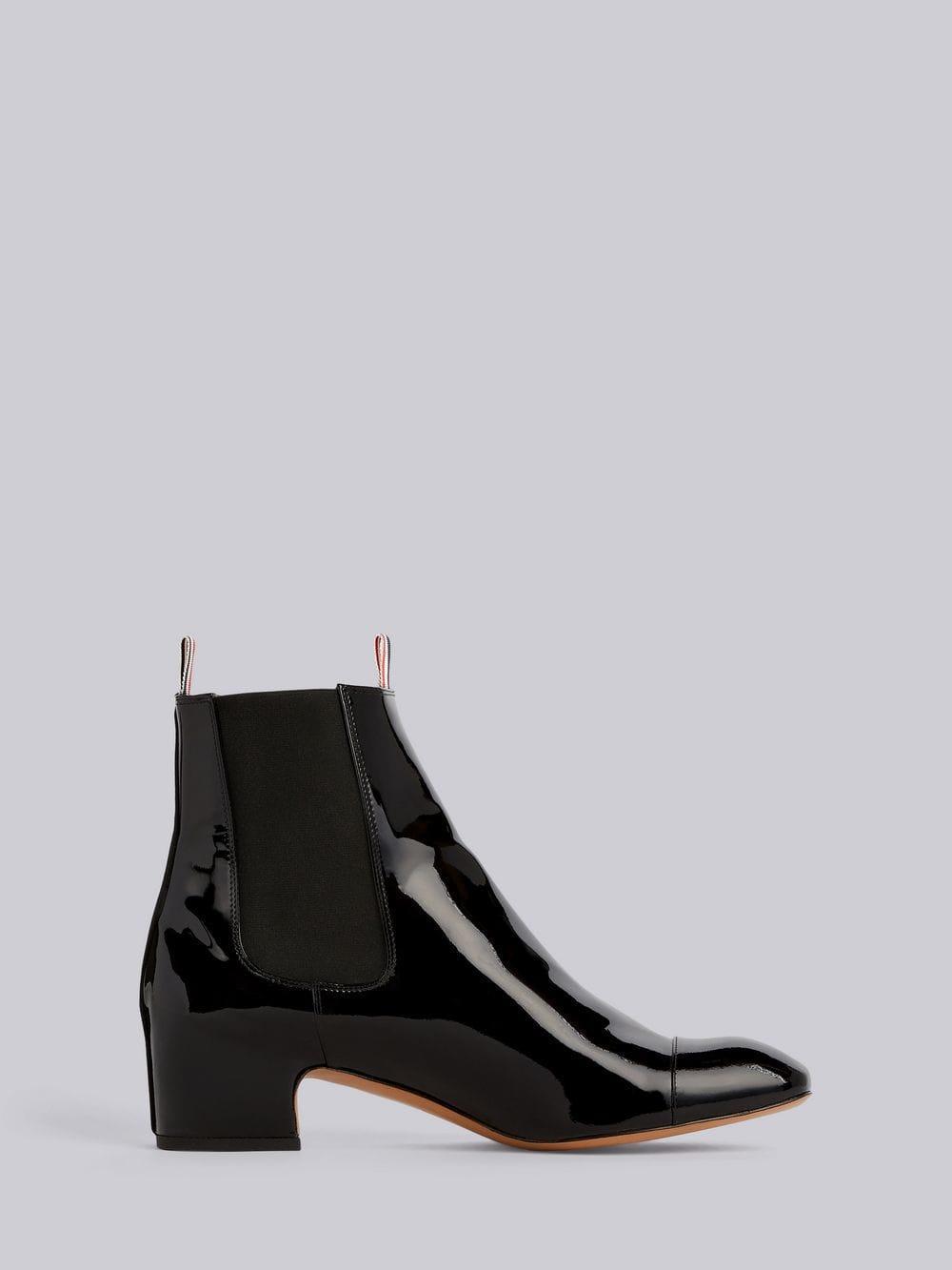 a3f0dd9eaed Women's Black Block Heel Patent Leather Chelsea Boot