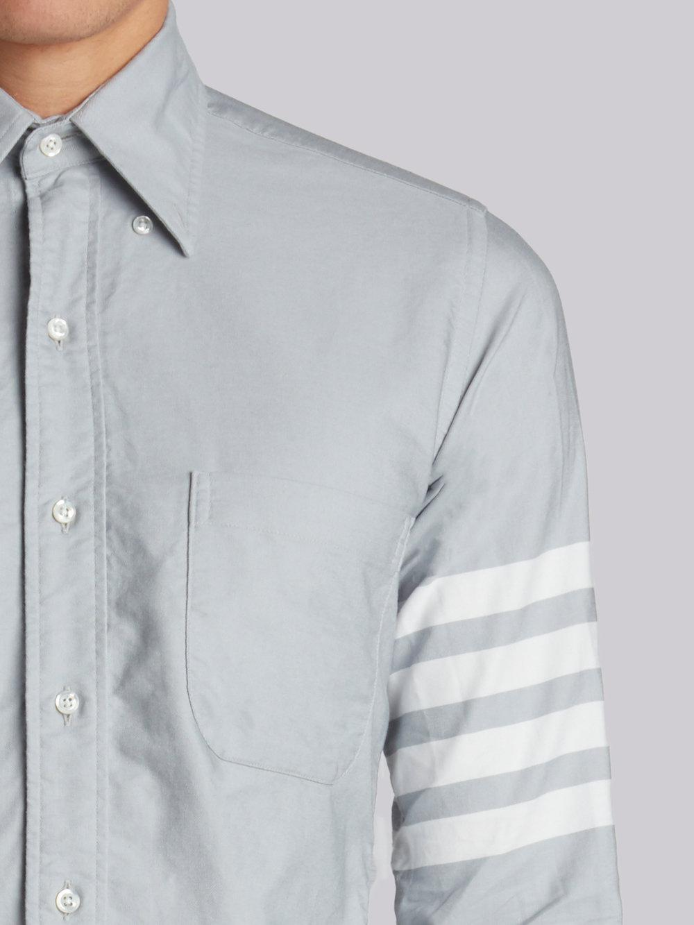 3022c5e363f Lyst - Thom Browne Long Sleeve Button Down With Woven 4-bar In ...