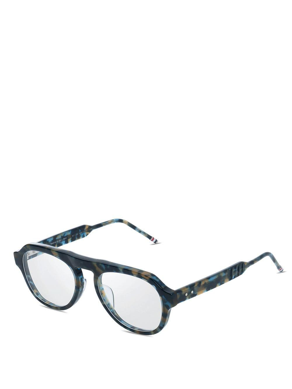 141195a077b Thom Browne Navy Tortoise Glasses in Blue for Men - Lyst