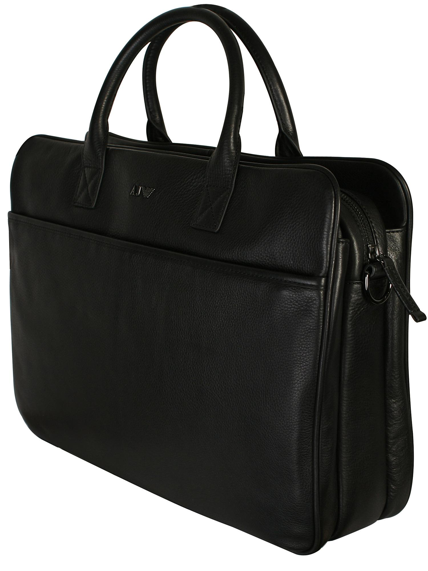7776eebe614 Armani Jeans - Black Leather Briefcase Bag for Men - Lyst. View fullscreen