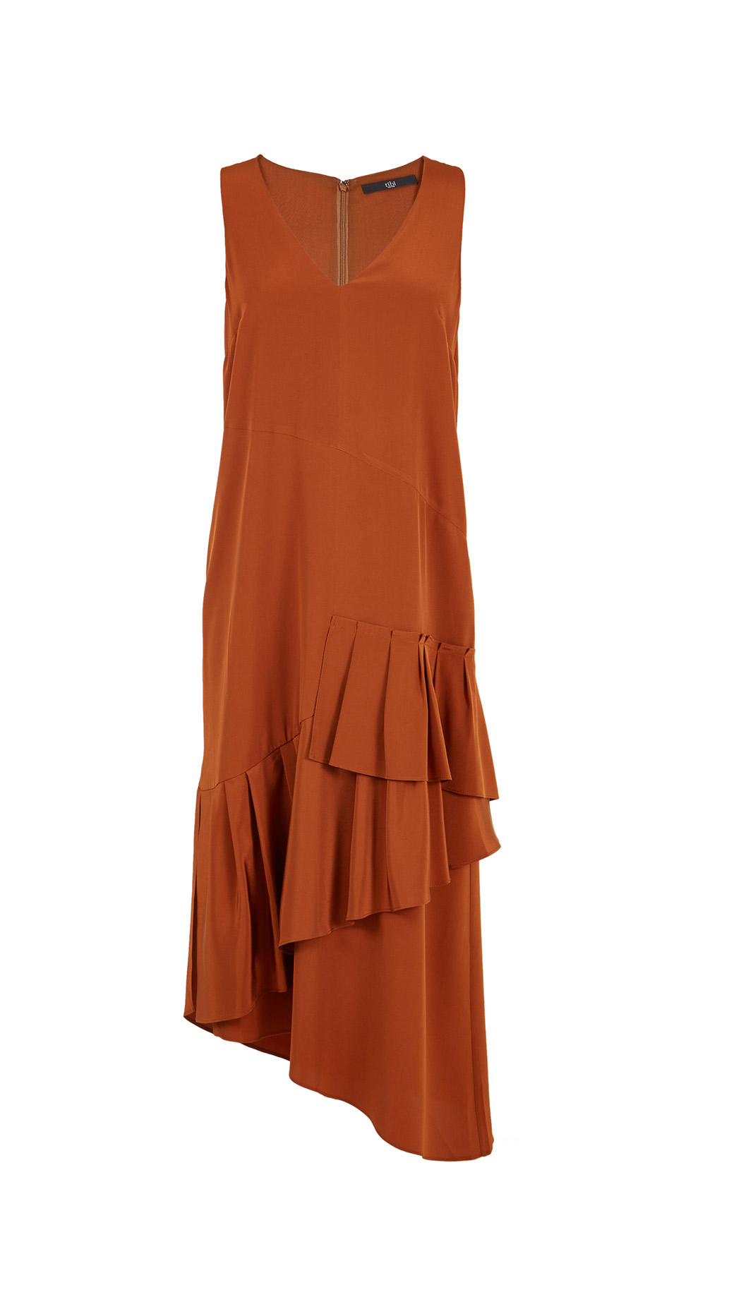 Tibi Silk V-neck Ruffle Dress in Brown