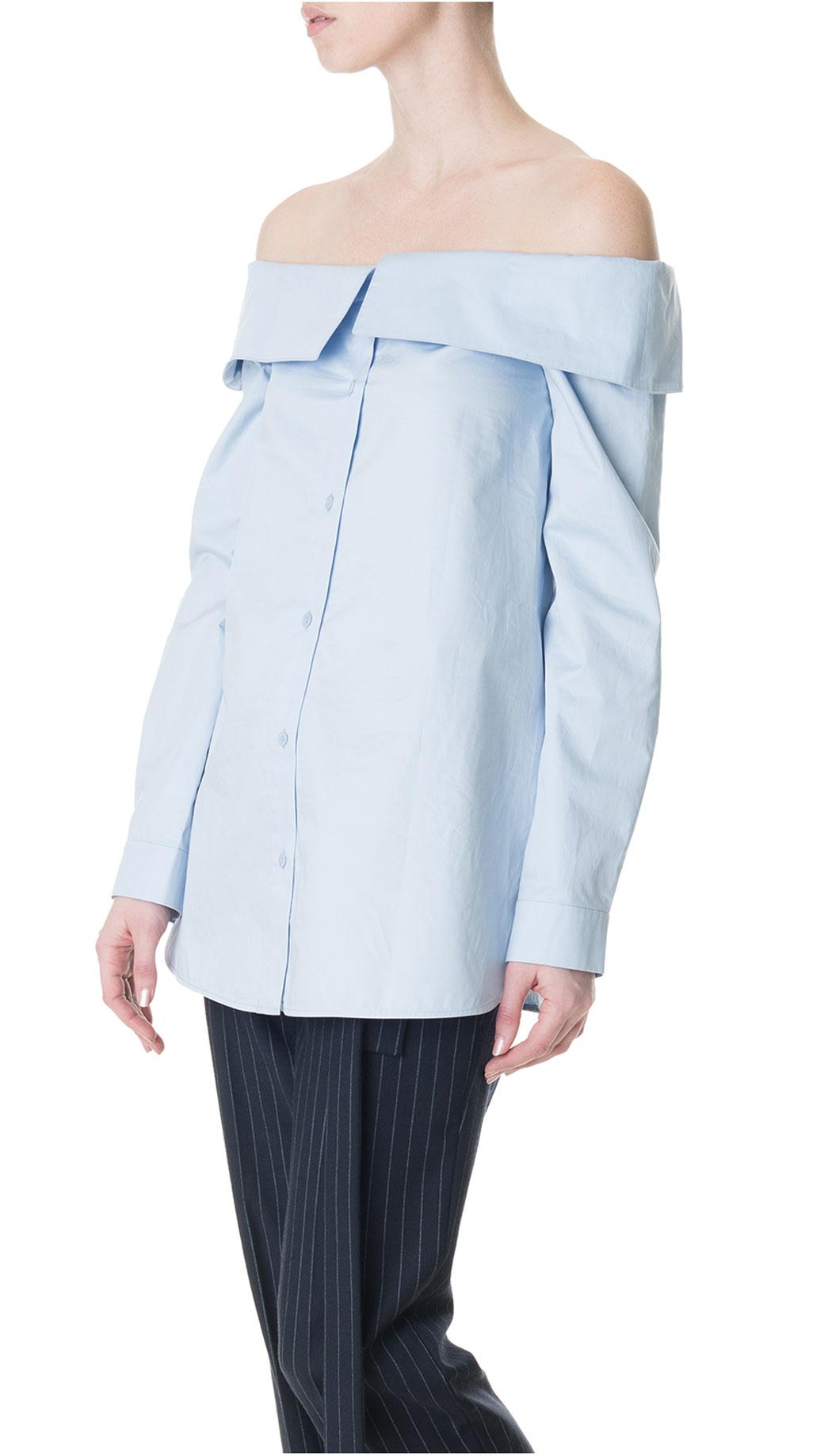 15678a0bf0540 Lyst - Tibi Satin Poplin Off-the-shoulder Shirt in Blue