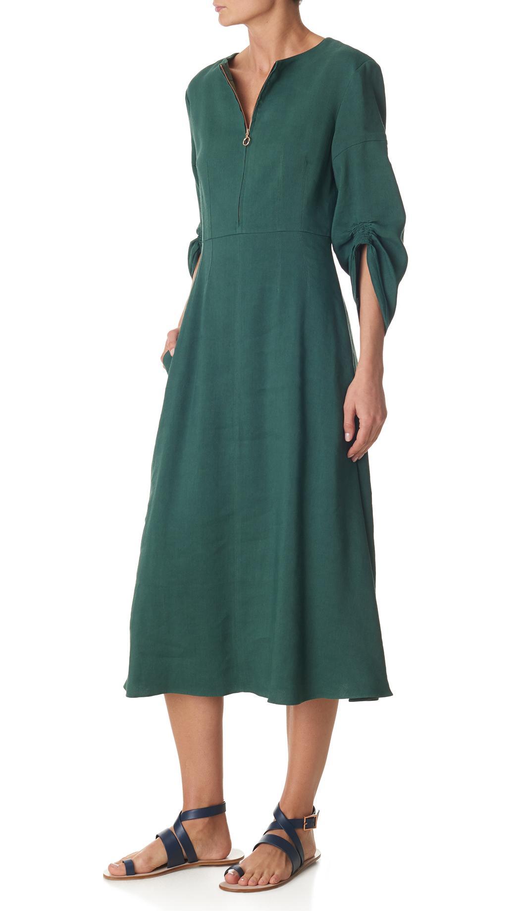 1137488474 Lyst - Tibi Marta Linen Dress in Green