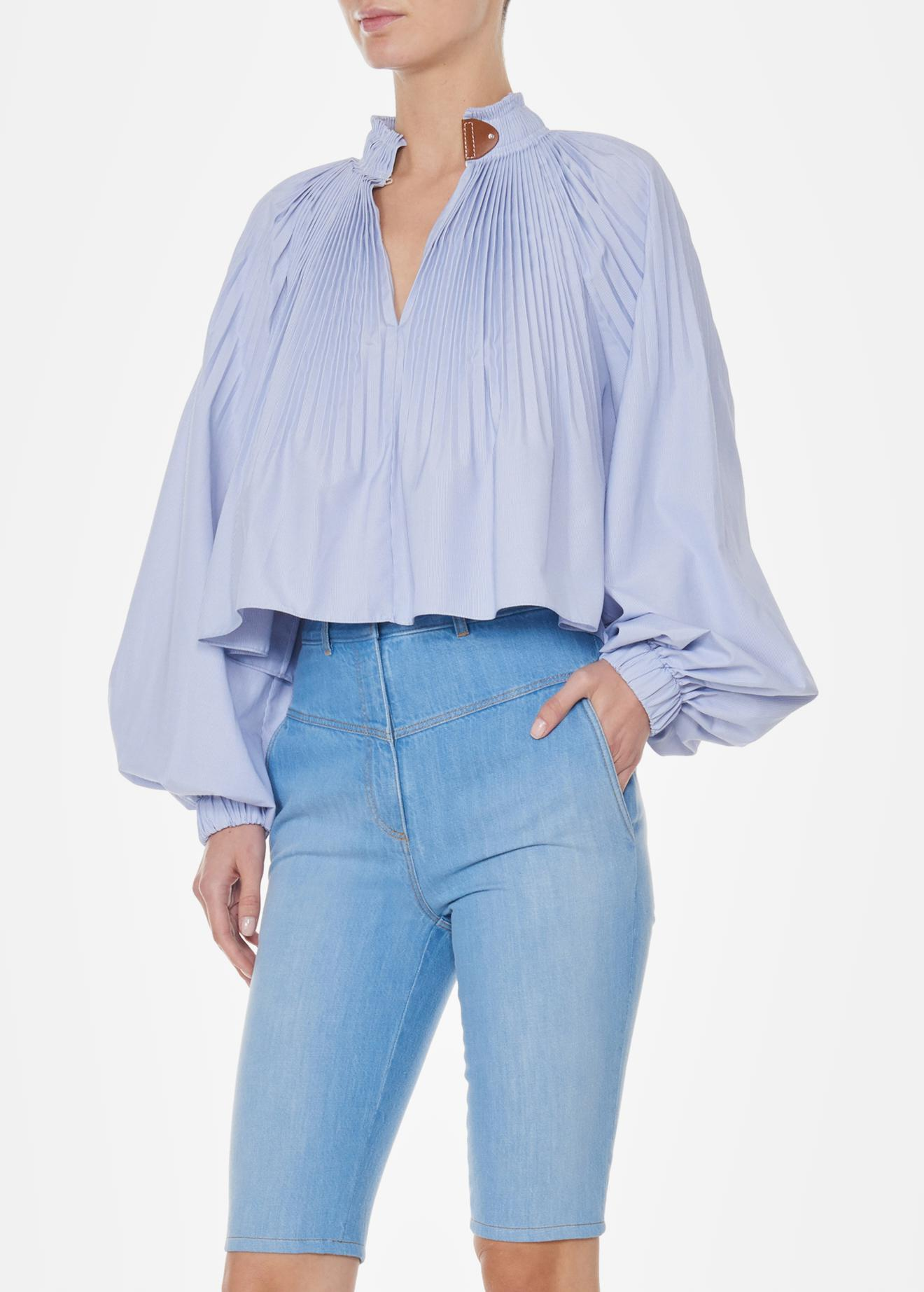 7a3181b5aa59aa Tibi Isabelle Shirting Cropped Edwardian Top in Blue - Lyst