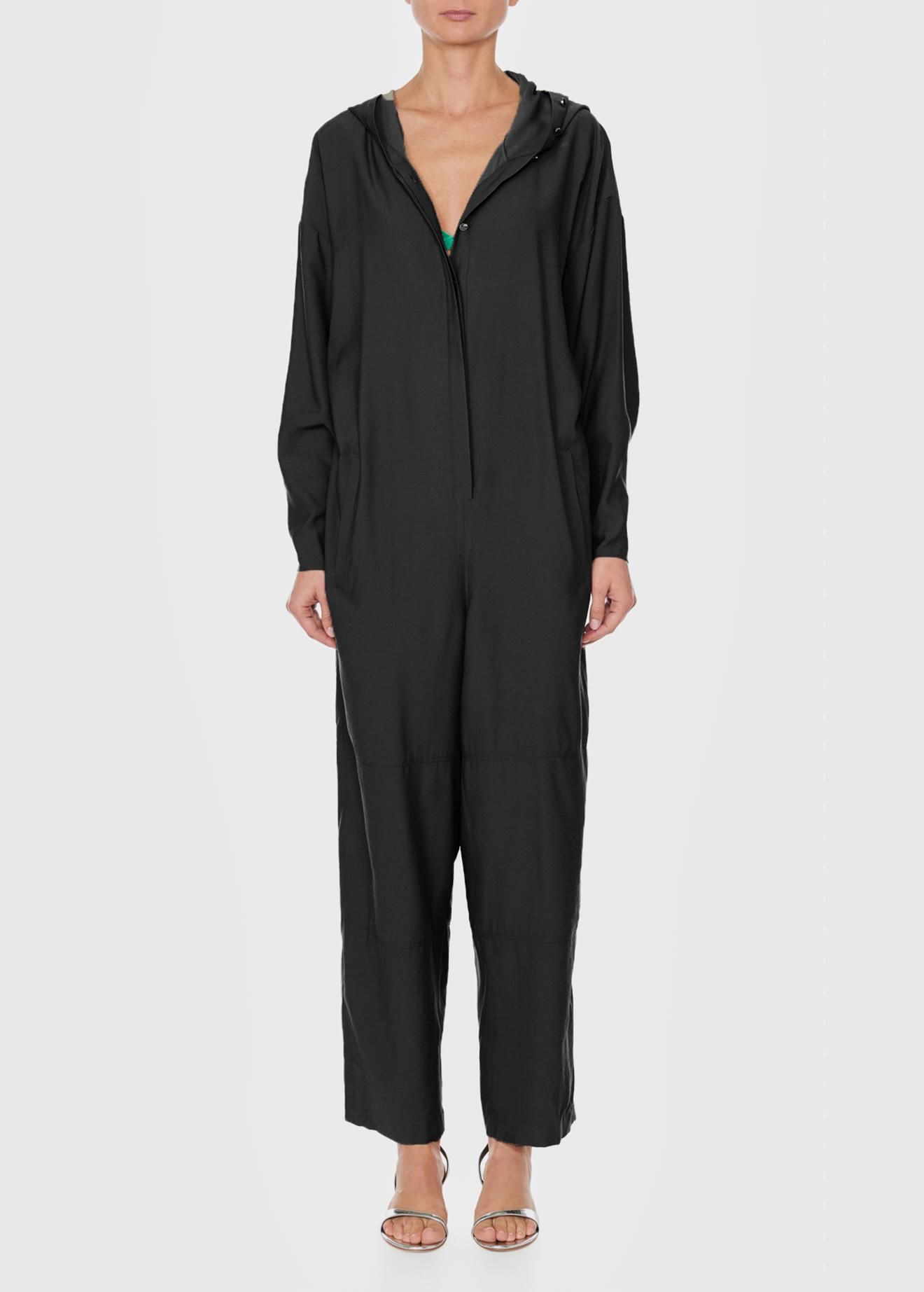 9c6aef117ea Lyst - Tibi Hoodie Jumpsuit With Open Back in Black