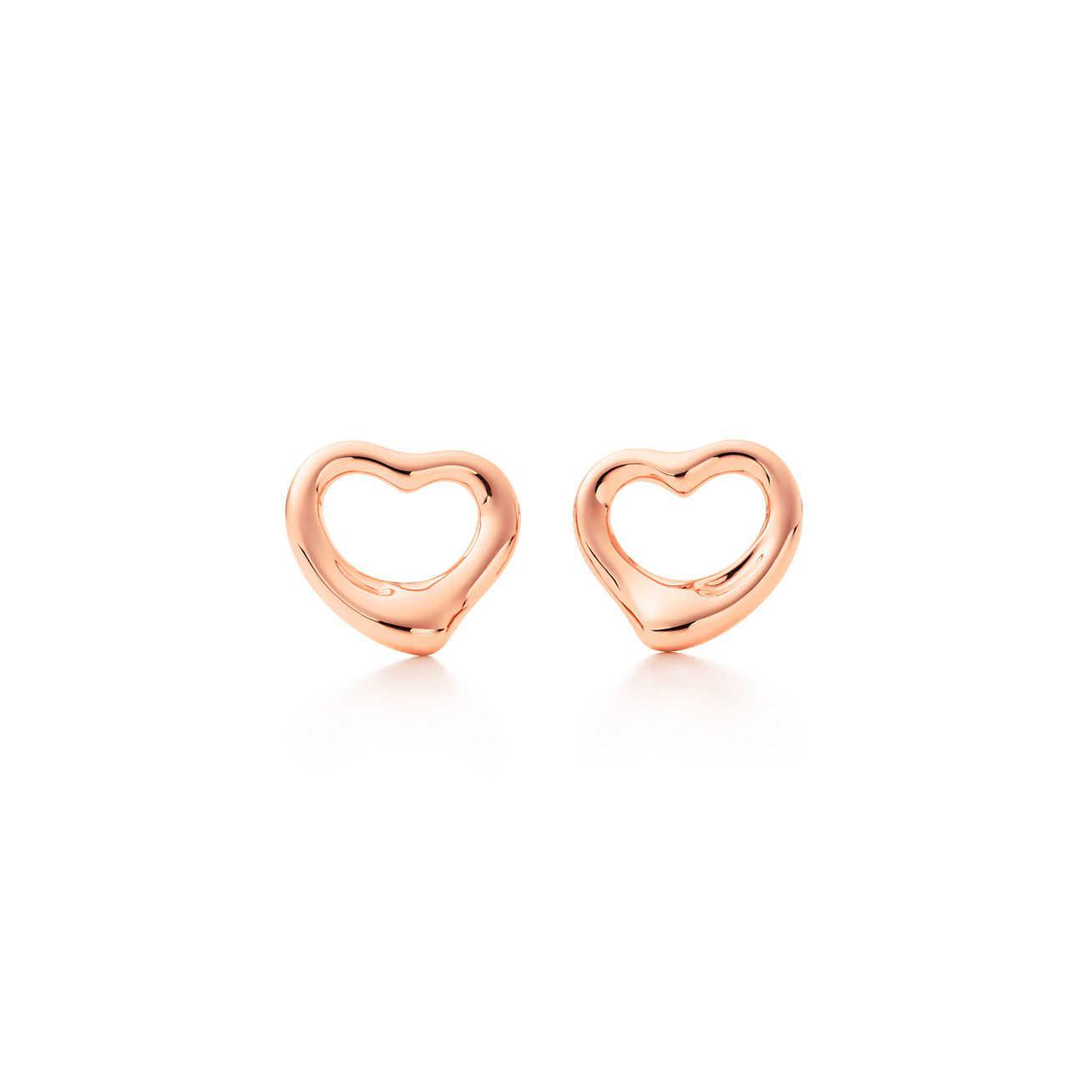 Tiffany Co Women S Pink Open Heart Earrings