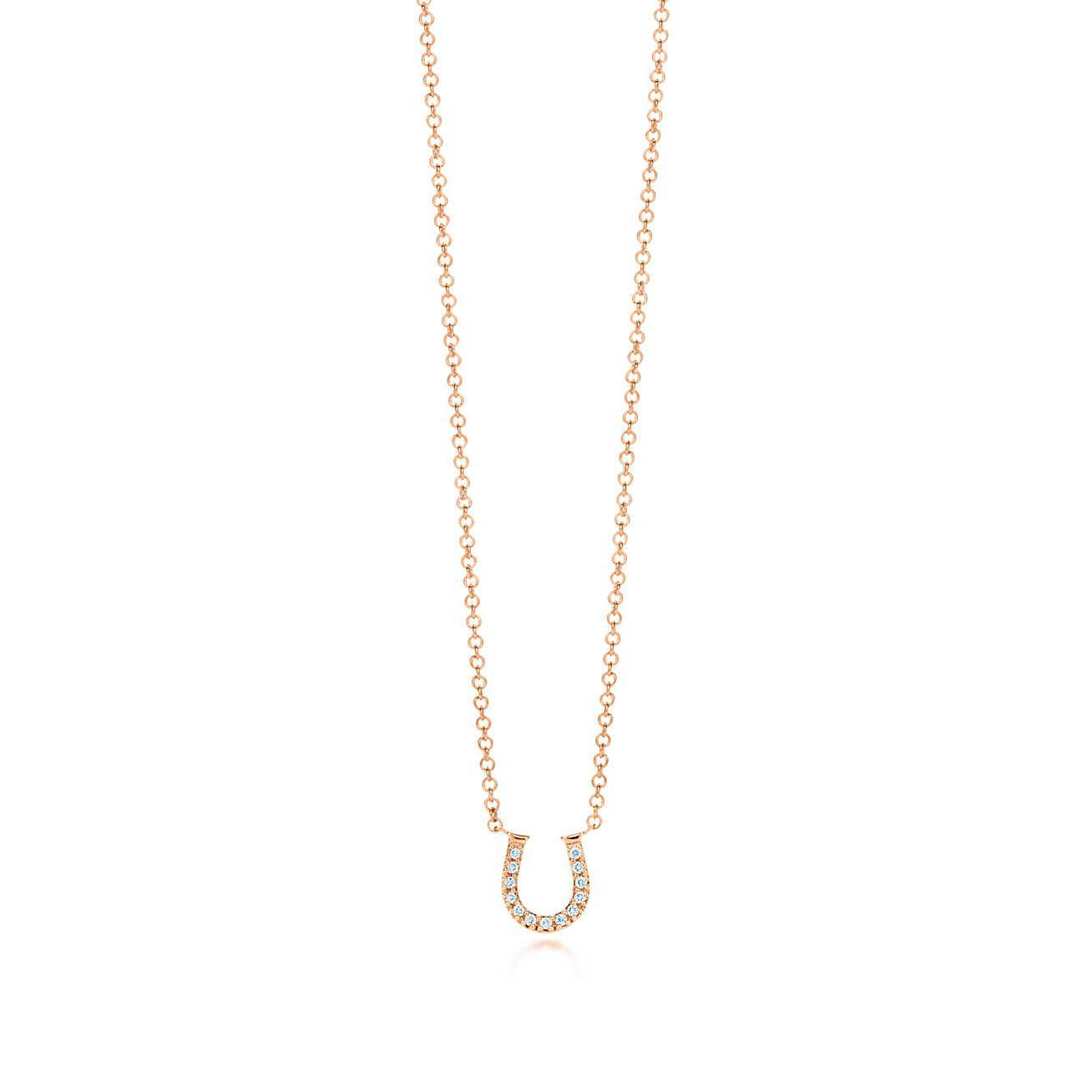 Horseshoe pendant in 18k rose gold with diamonds, mini - Size Tiffany & Co.