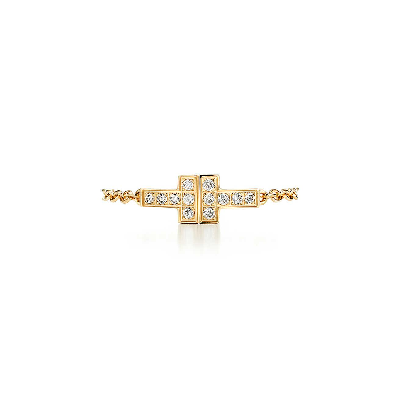 32c598b2b Tiffany & Co. Tiffany T Two Chain Ring In 18k Gold With Diamonds ...