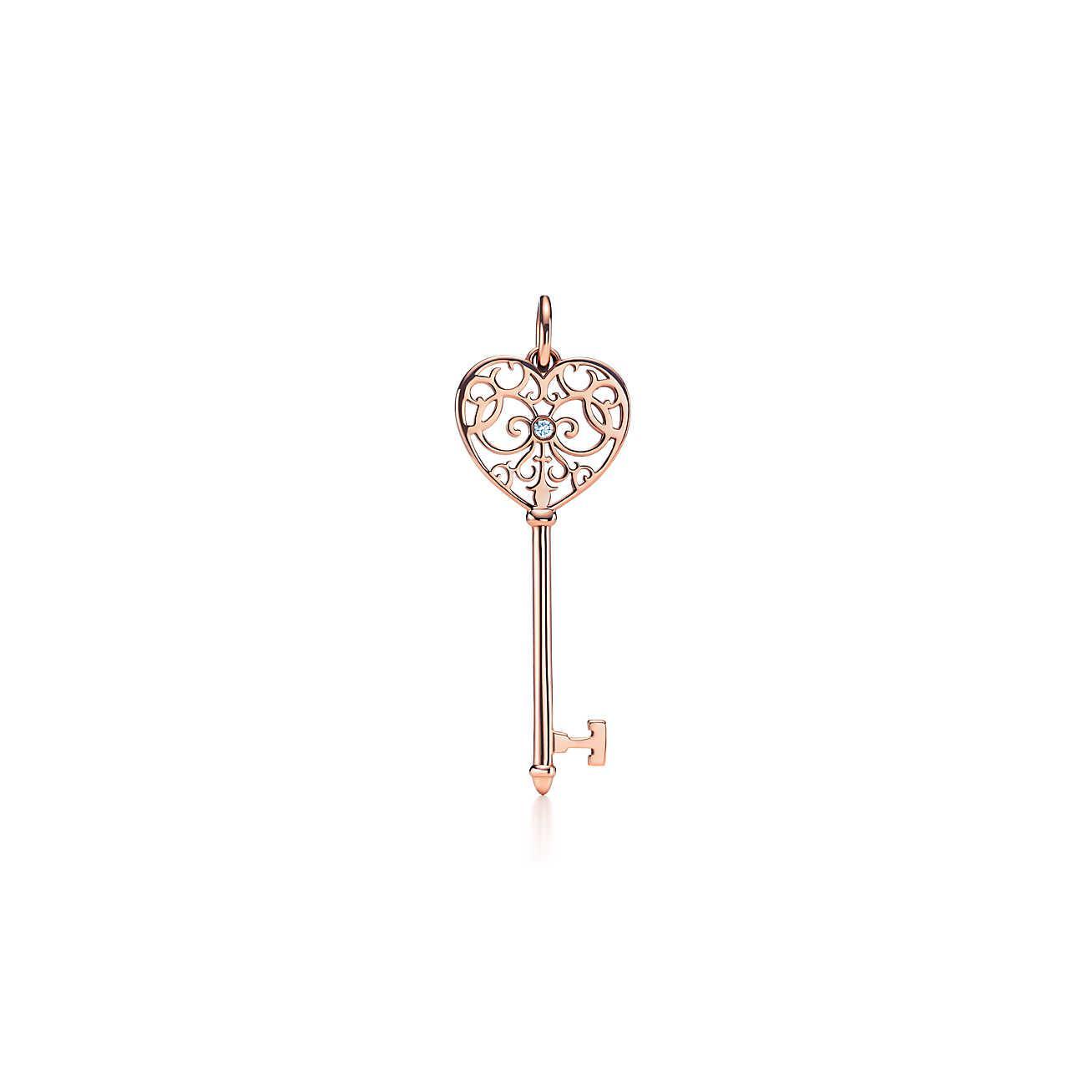 Llaves De Tiffany Atlas Clave Colgante En Oro Rosa De 18 Quilates Con Diamantes, Tiffany & Co Medio.