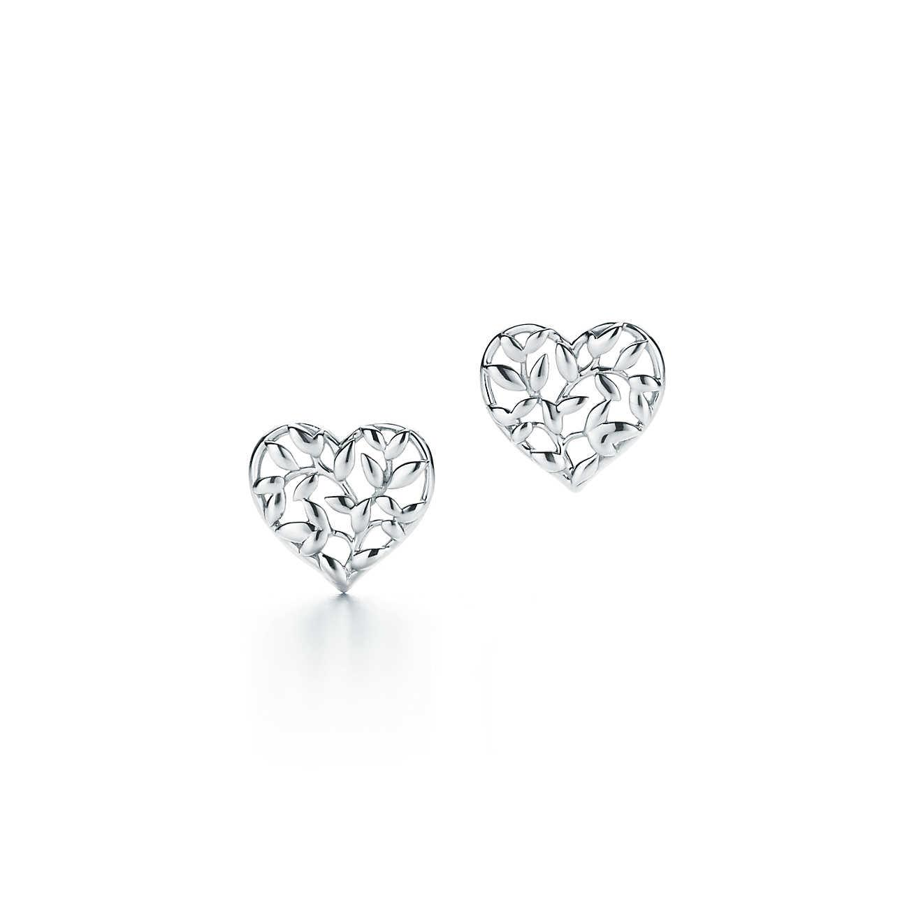 Tiffany Co Women S Green Paloma Pico Olive Leaf Heart Earrings In Sterling Silver