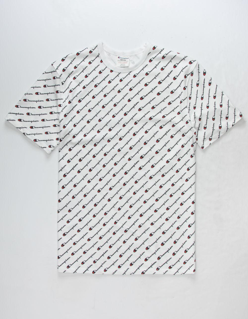 ffd3ea9160d1 Champion Allover Script Screen White Mens T-shirt in White for Men ...
