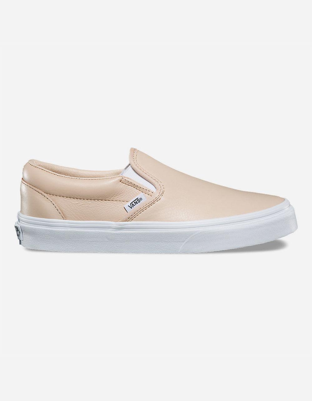 e1672d8751d Lyst - Vans Leather Frappe   True White Classic Slip-on Womens Shoes ...