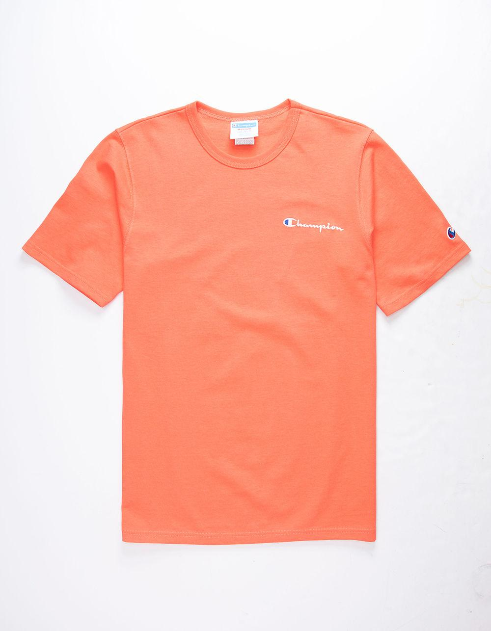 b88dc6557cea Champion - Orange Embroidered Script Logo Groovy Papaya Mens T-shirt for Men  - Lyst. View fullscreen