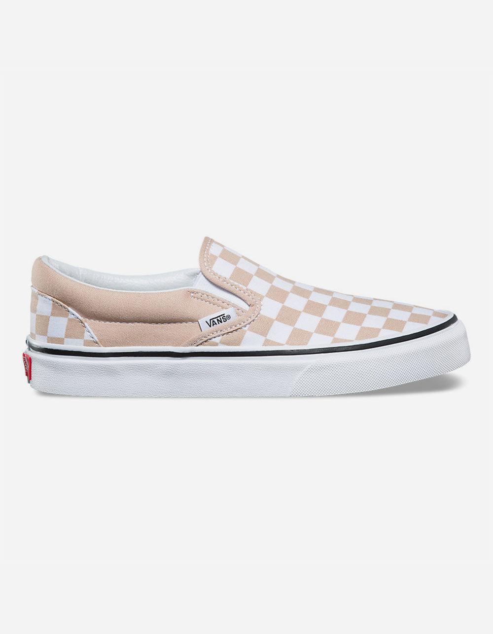ac38f68fbd Lyst - Vans Checkerboard Frappe   True White Classic Slip-on Womens ...