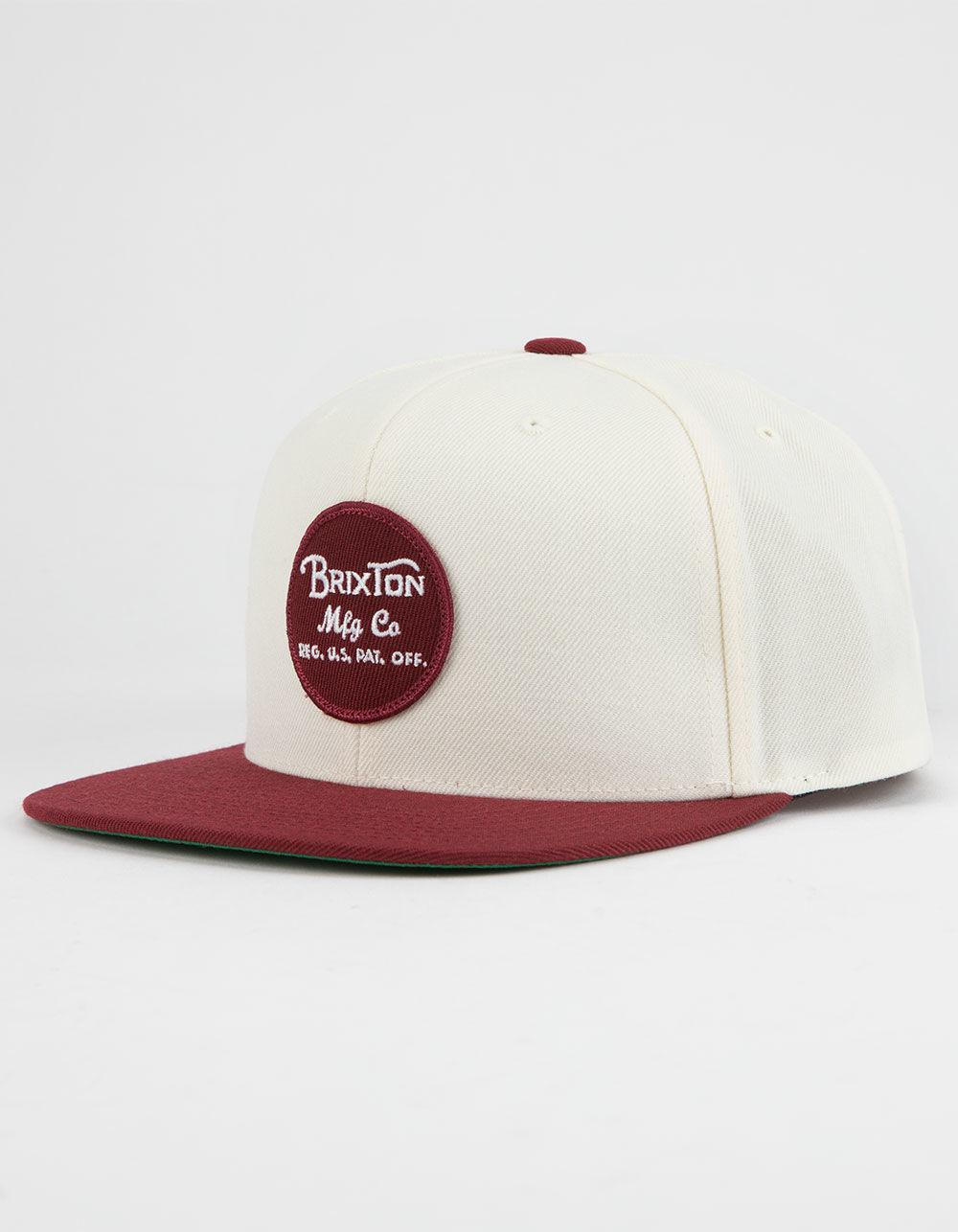 dcf1a1cafef39 Lyst - Brixton Wheeler Burgundy   White Mens Snapback Hat in White ...