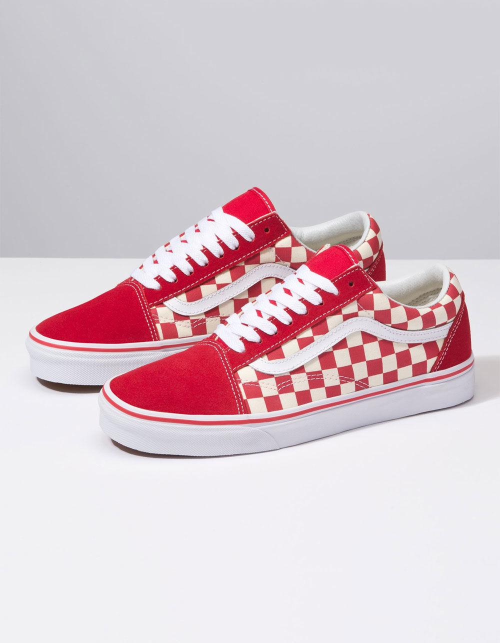 672bc0ec59 Lyst - Vans Primary Check Old Skool Racing Red   White Shoes in Red for Men