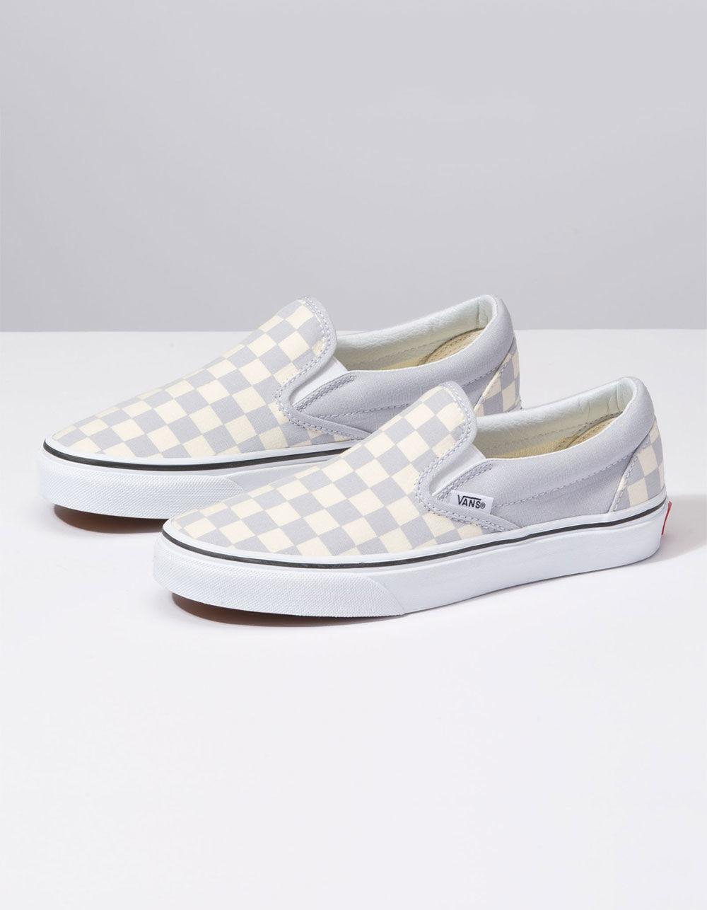 ac2d1915a881 Lyst - Vans Checkerboard Gray Dawn   True White Womens Slip-on Shoes in  White