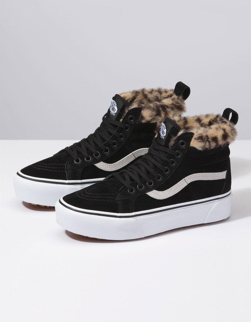 6fd64ca625f Lyst - Vans Sk8-hi Platform Mte Black   Leopard Fur Womens Shoes in Black -  Save 19%