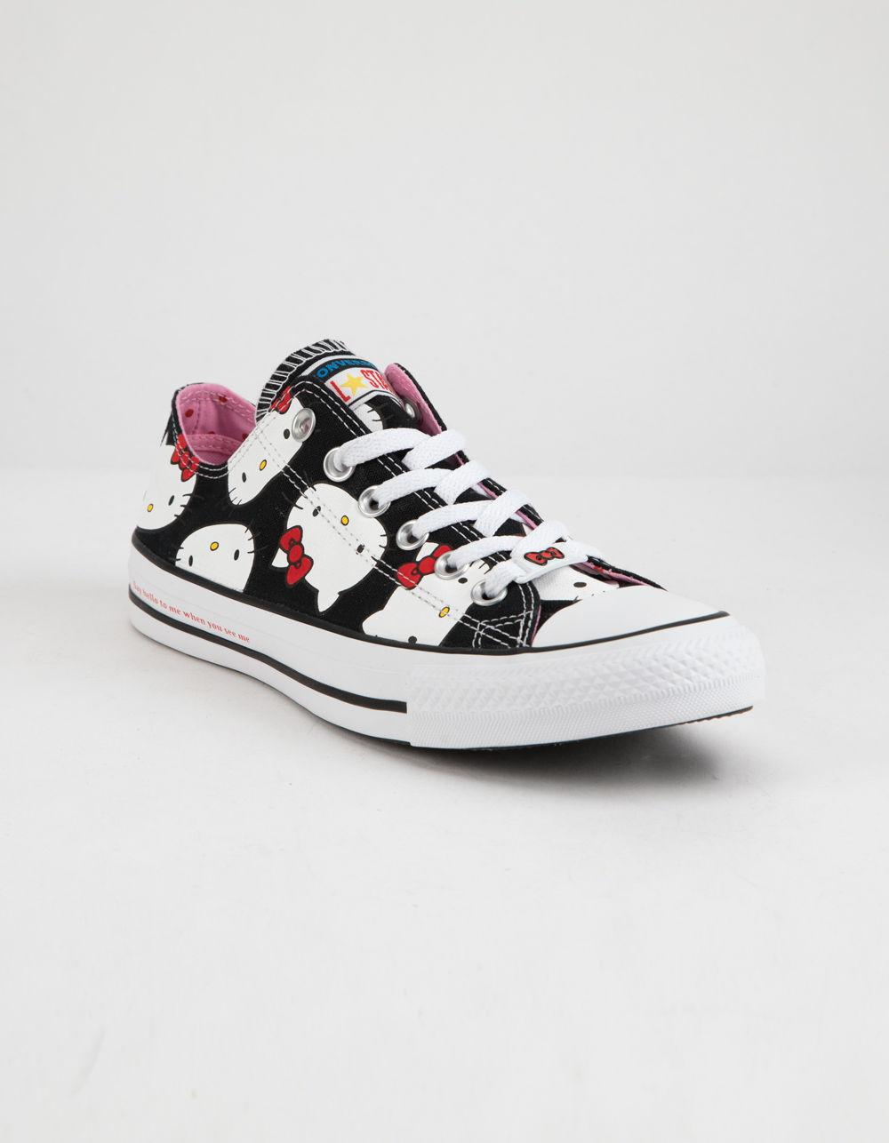 615129fc3475 Lyst - Converse X Hello Kitty Chuck Taylor All Star Black   Prism Pink Low  Top Womens Shoes in Black