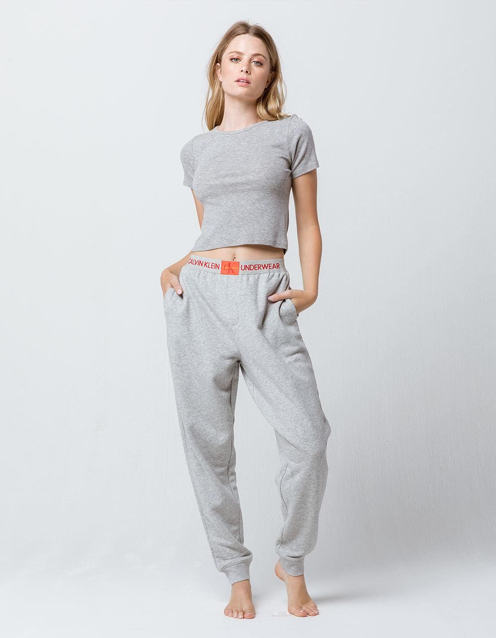 Lyst - Calvin Klein Monogram Logo Heather Gray Womens Jogger Pants ... 04ce490ff