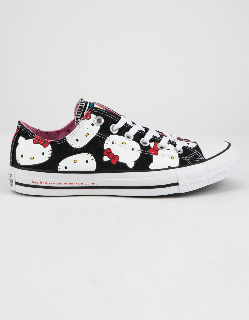 5d4f28179ae074 Converse. X Hello Kitty Chuck Taylor All Star Black   Prism Pink Low Top ...