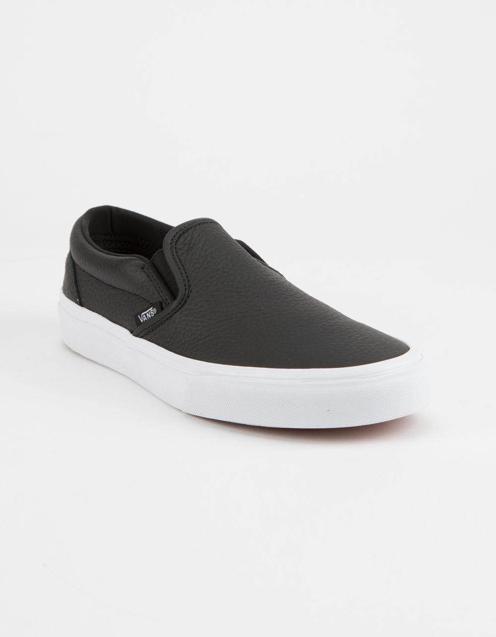 Lyst - Vans Tumble Leather Black   True White Classic Slip-on Womens Shoes  in Black 1f6631751
