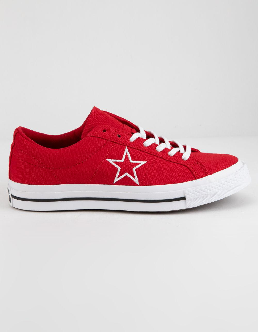 9be98338349292 Lyst - Converse One Star Ox Enamel Red   White Low Top Shoes in Red