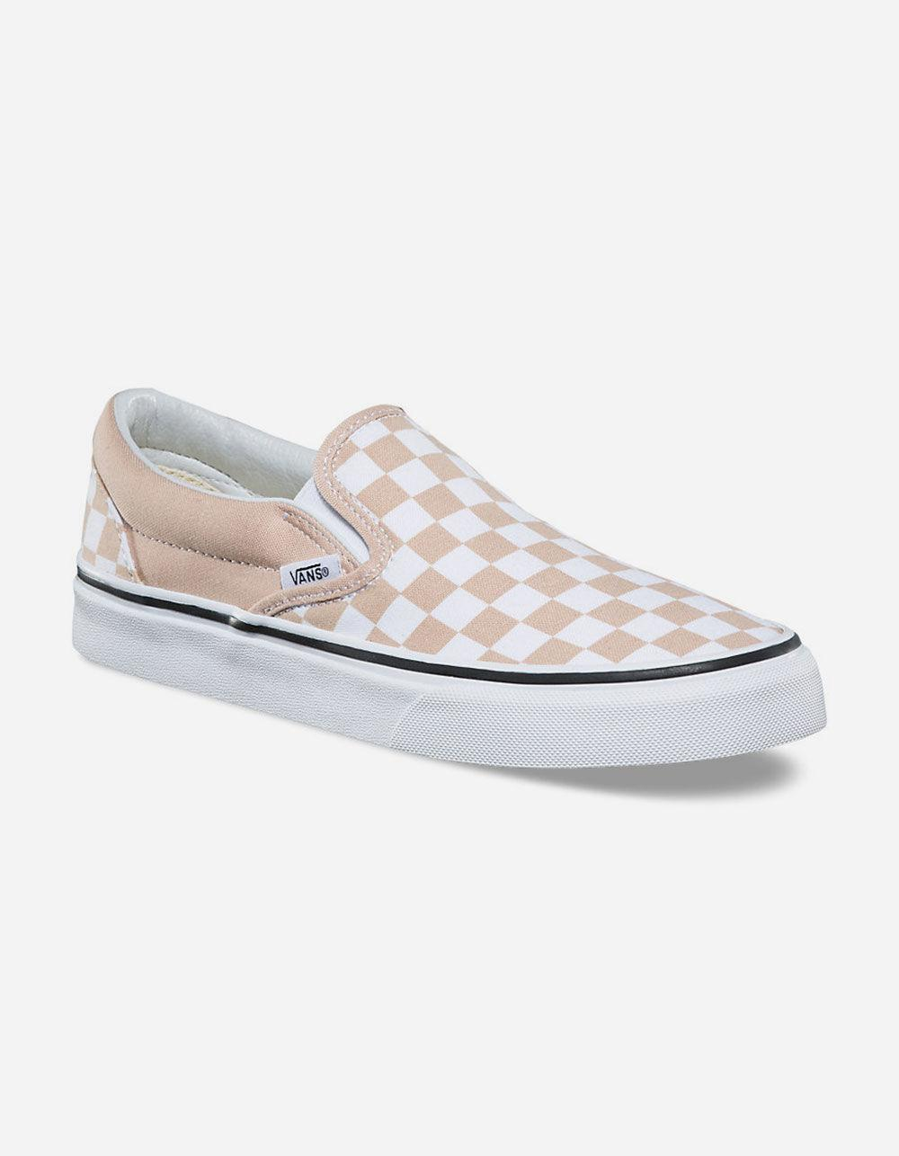 4b74896ed9 Lyst - Vans Checkerboard Frappe   True White Classic Slip-on Womens Shoes  in White