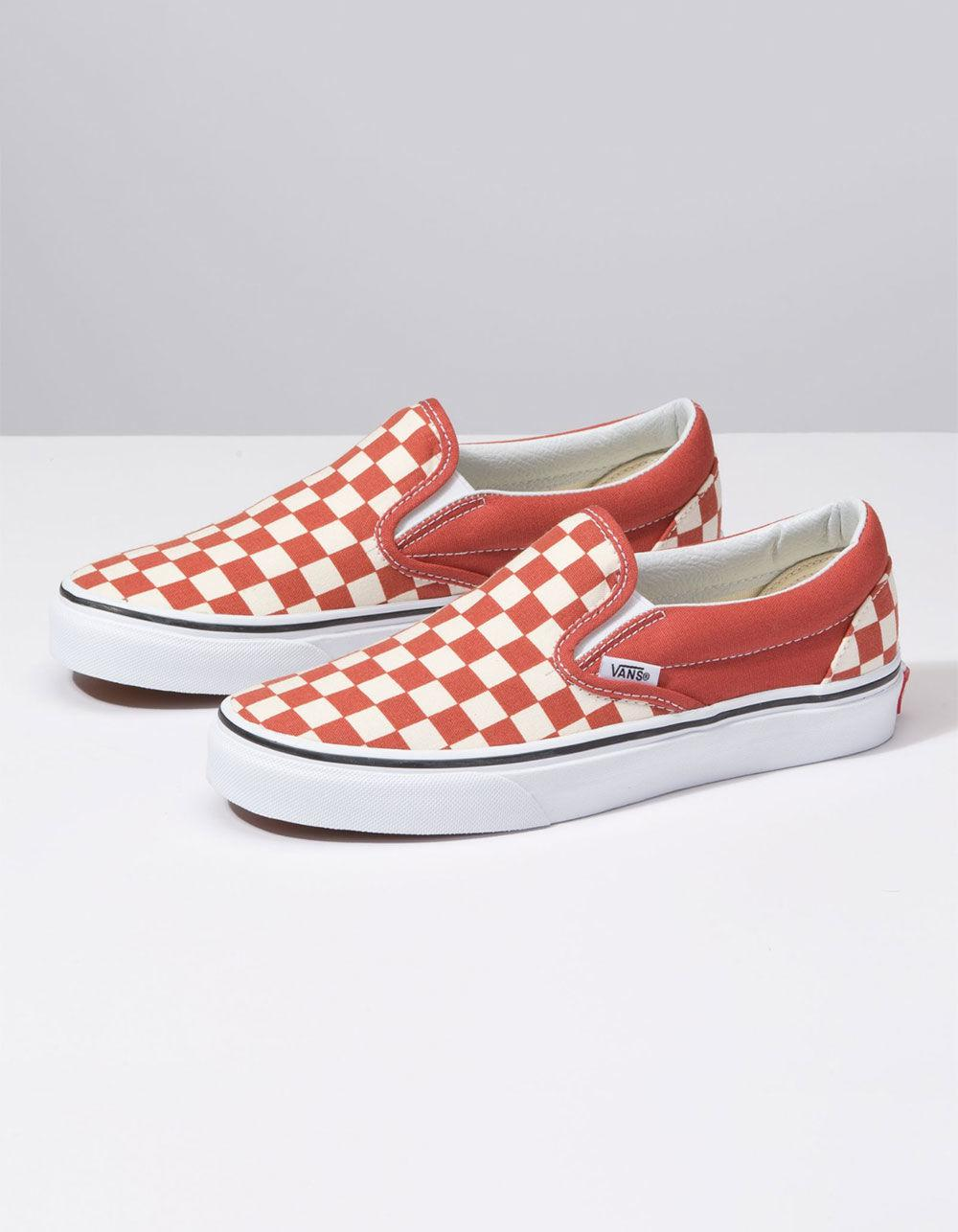 b96ea2f97a2a4f Lyst - Vans Checkerboard Classic Slip-on Hot Sauce   True White Womens Shoes  in White