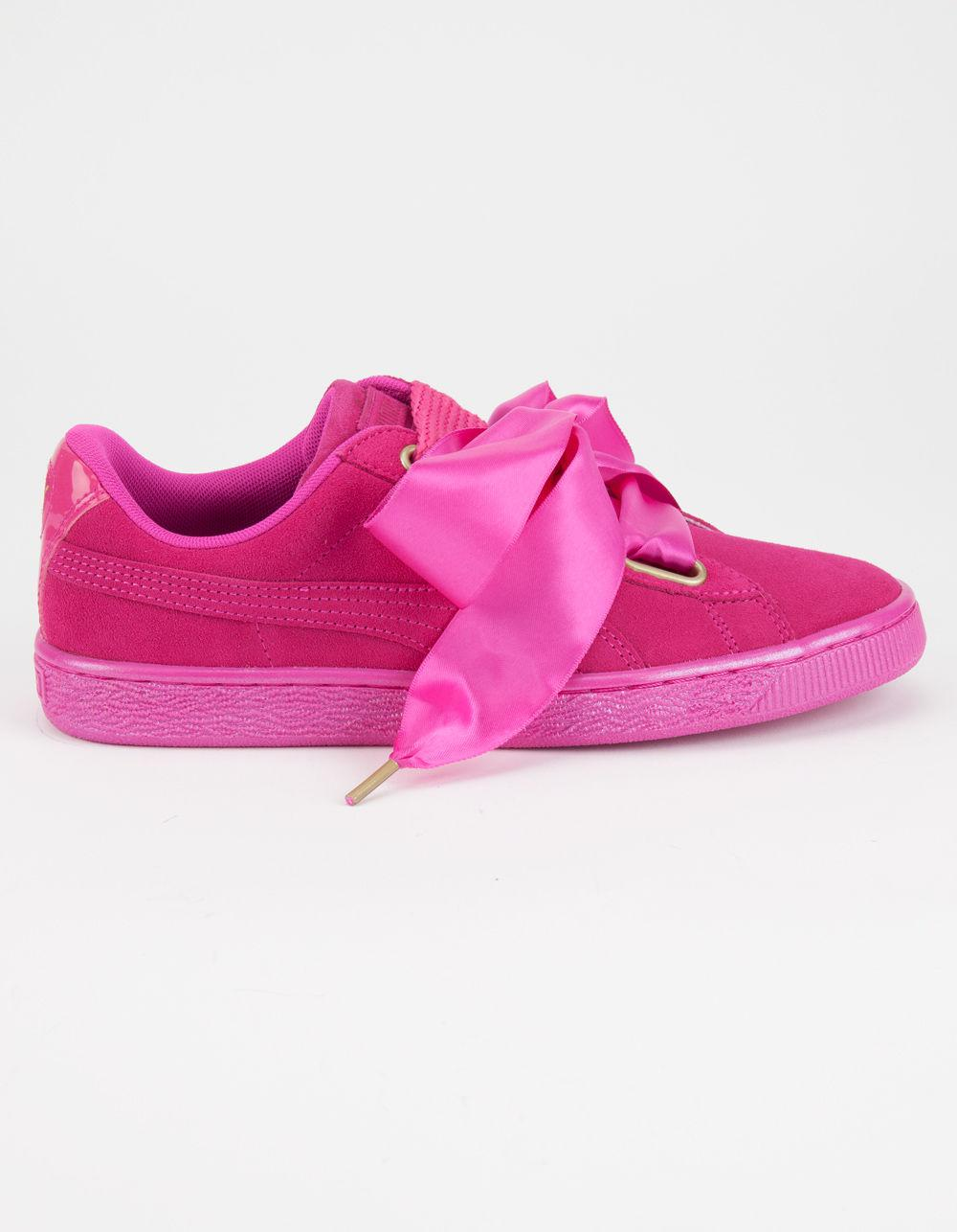 e9f7238687c Lyst - PUMA Suede Heart Satin Womens Sneakers in Pink