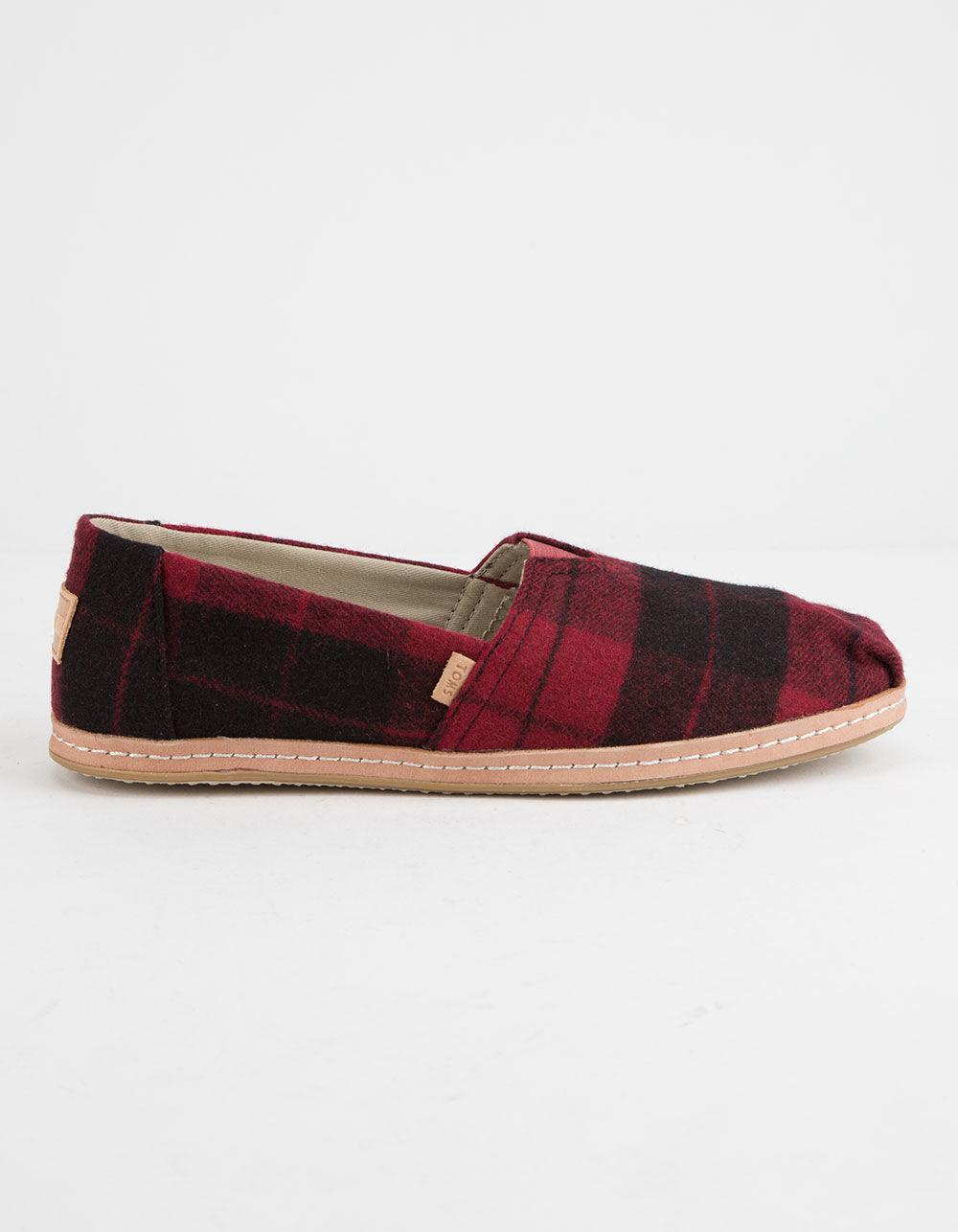 380660b0656 Lyst - TOMS Felt Plaid Womens Classic Slip-on Shoes in Red