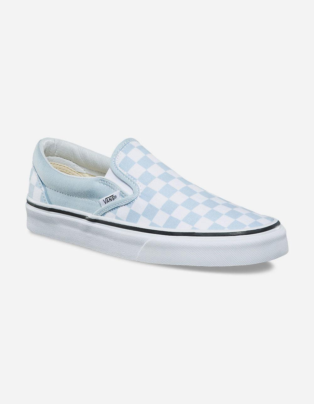 cb409095e8f Lyst - Vans Checkerboard Baby Blue Womens Slip-on Shoes in Blue