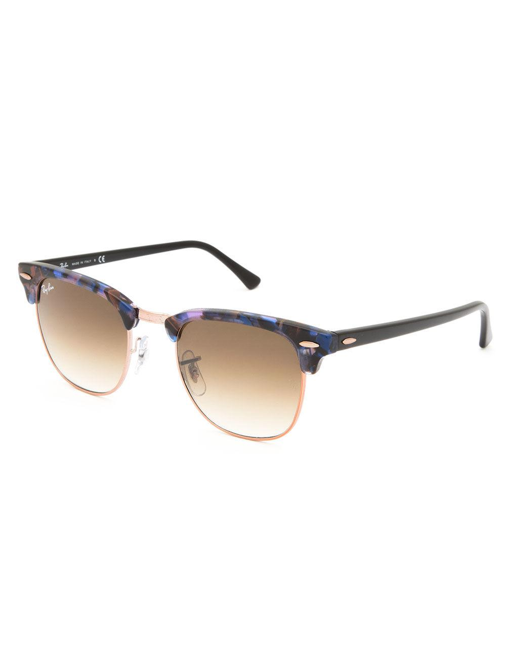 Lyst - Ray-Ban Clubmaster Fleck Spotted Brown   Blue Sunglasses in Brown ccbedf63ac