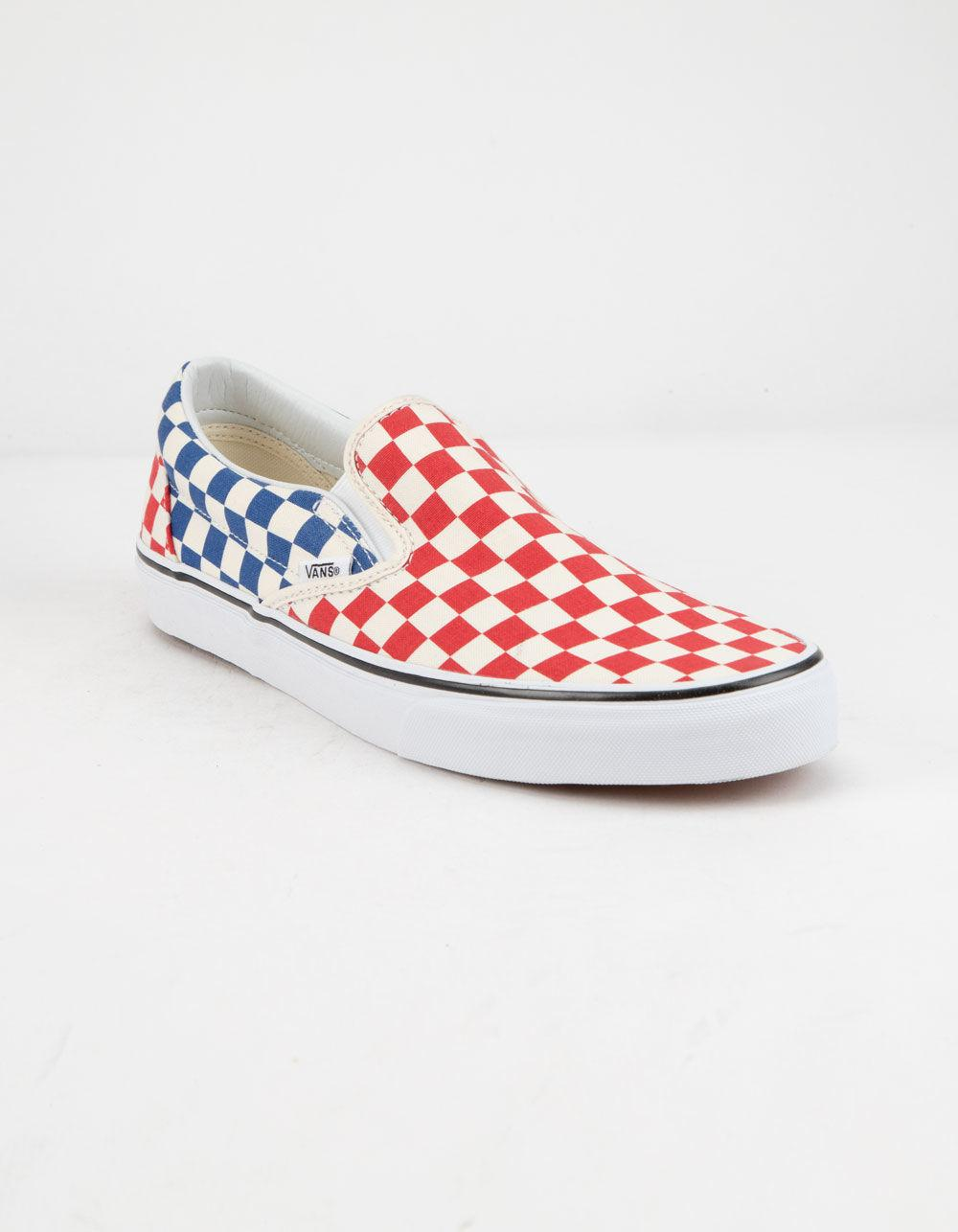 Lyst - Vans Checkerboard Classic Slip-on Red   Blue Shoes 53988f4e3