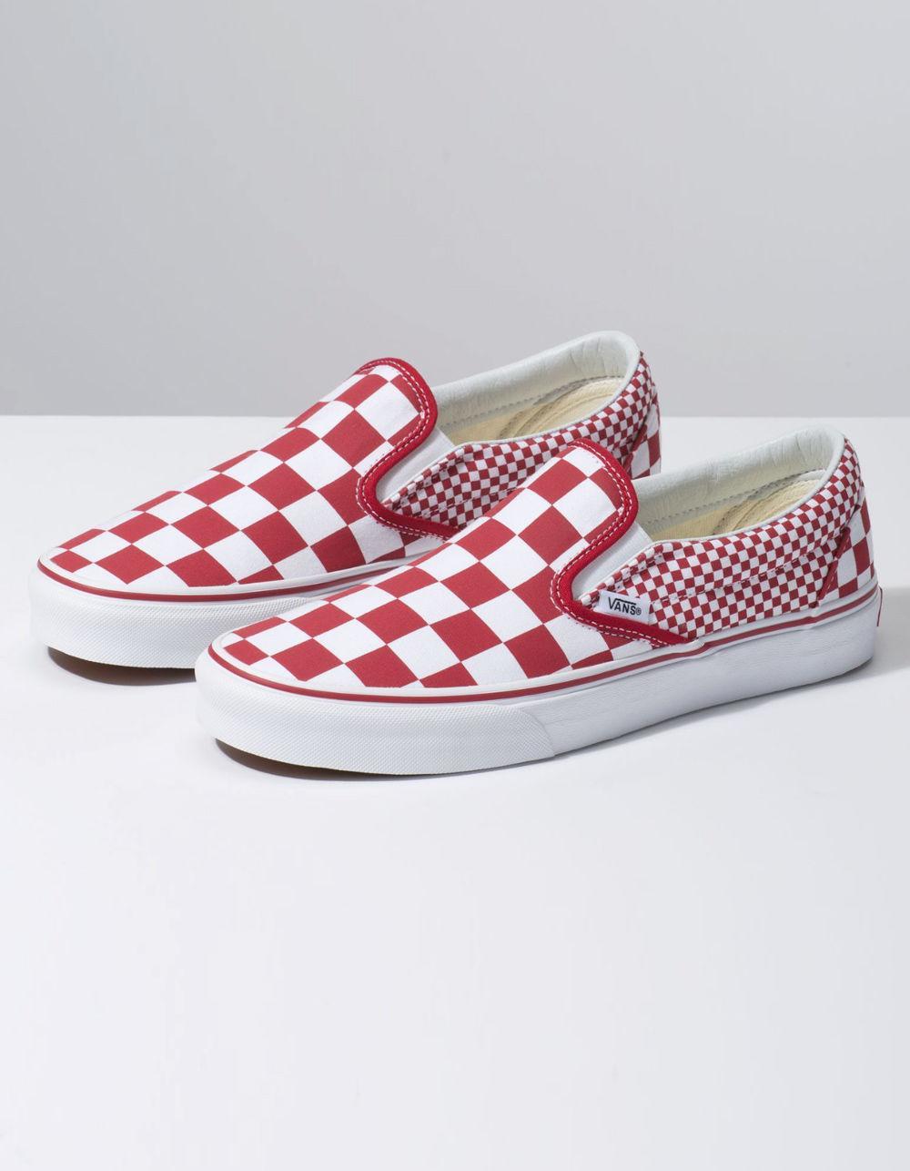19f2fe70ea2 Lyst - Vans Mix Checker Classic Slip-on Chili Pepper   True White Shoes in  White