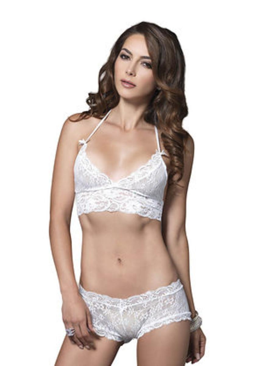 f35f9a995622e Lyst - Leg Avenue 2 Pc. Stretch Lace Halter Bra And Cut Out G-string ...