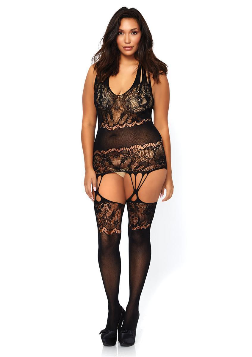 d8480bf312 Lyst - Leg Avenue Seamless Floral Lace Opaque in Black