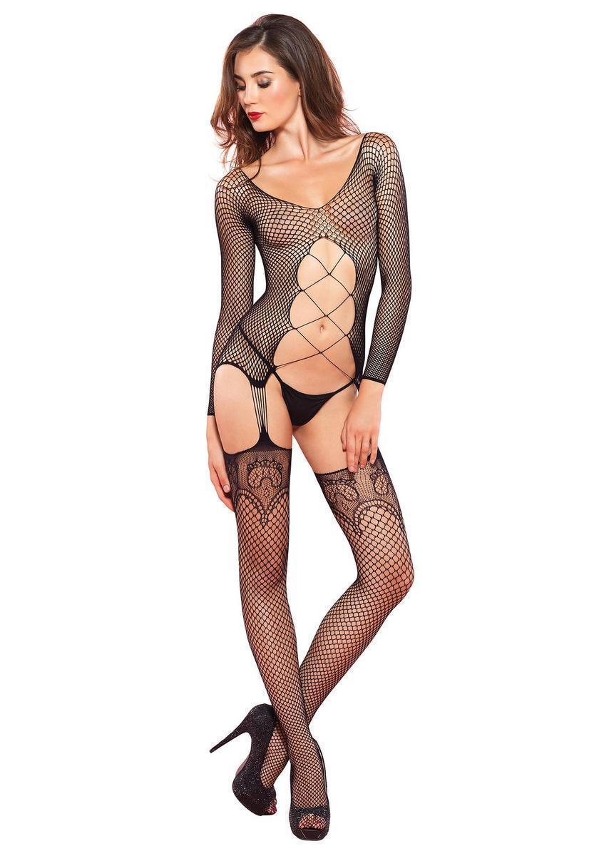 00aabcad3d Leg Avenue. Women s Industrial Net Long Sleeve Suspender Bodystocking In  Black