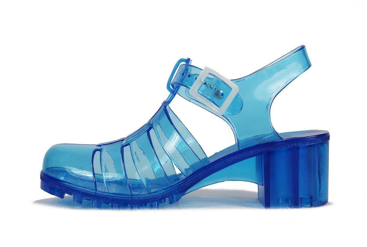 7c0e73be95a2 Lyst - Wanted Shoes Gumball Low Heel Jelly Sandal in Blue