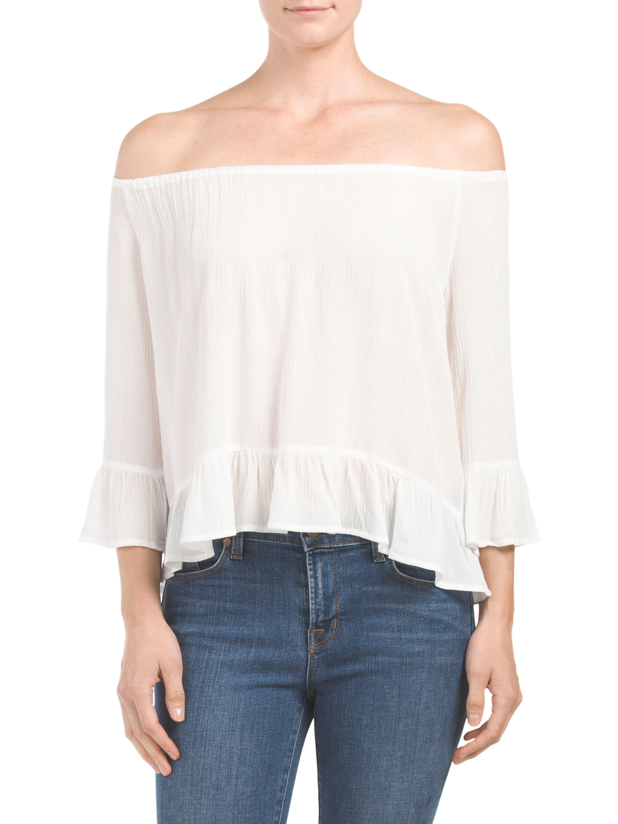 Tj maxx julia off the shoulder top in white lyst for Tj maxx t shirts