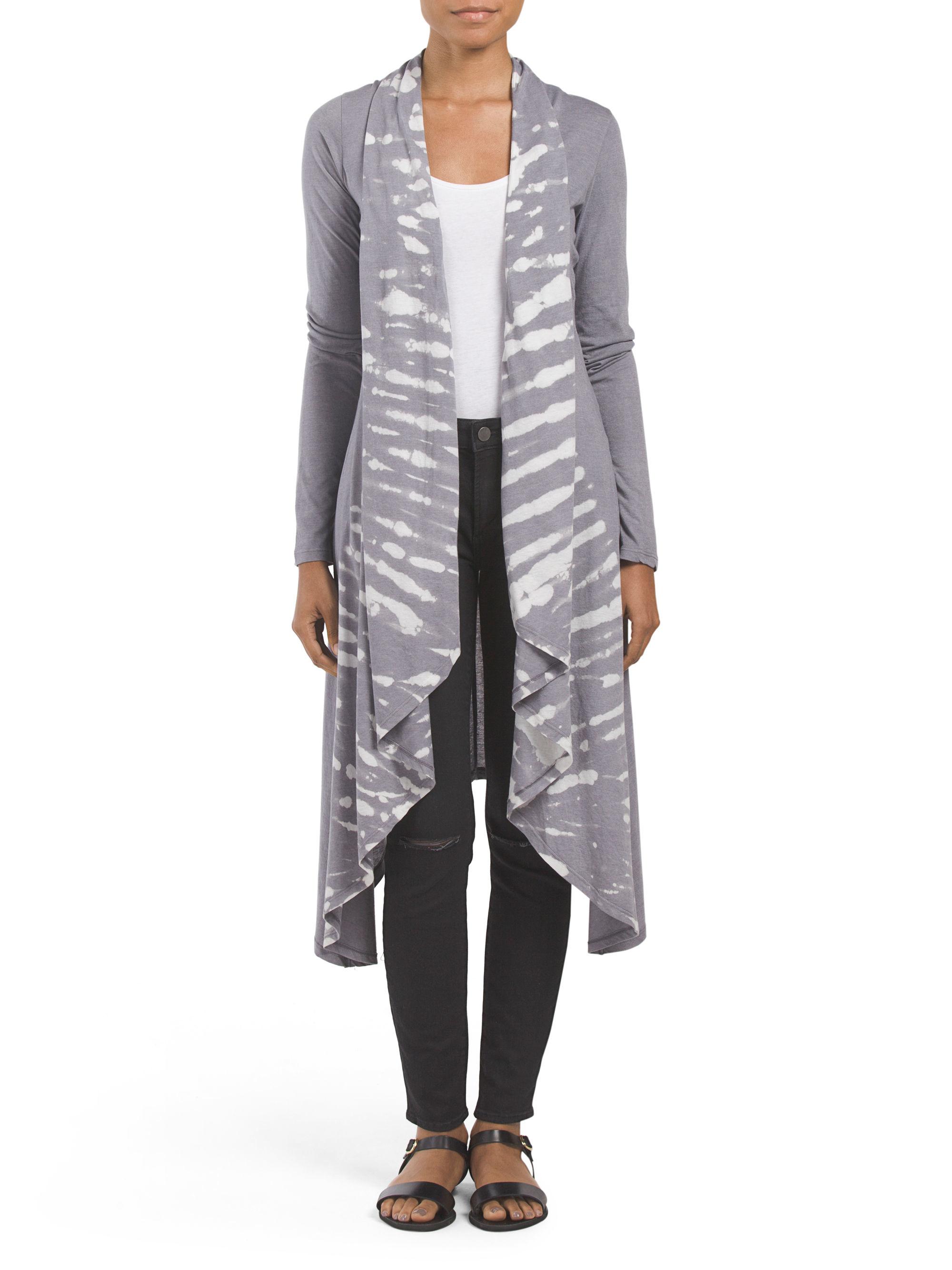 Tj maxx tie dye drape duster in gray lyst for Tj maxx t shirts