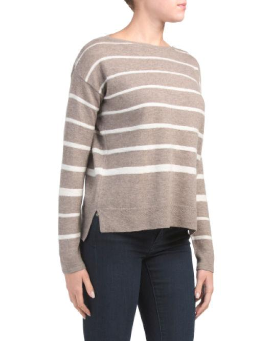 2c7b39bff Lyst - Tj Maxx Striped Pullover Merino Wool Blend Sweater
