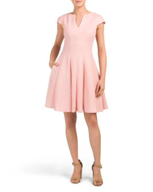 4e10dd05692e9 Lyst - Tj Maxx Textured Knit Fit And Flare Dress in Pink