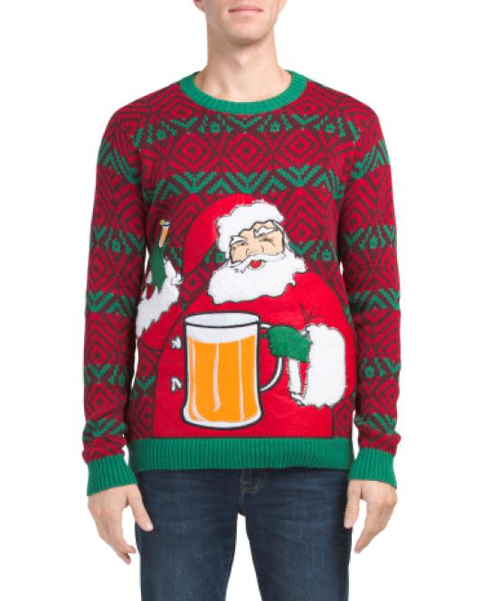 Lyst Tj Maxx Santa Drink Pocket Christmas Sweater For Men