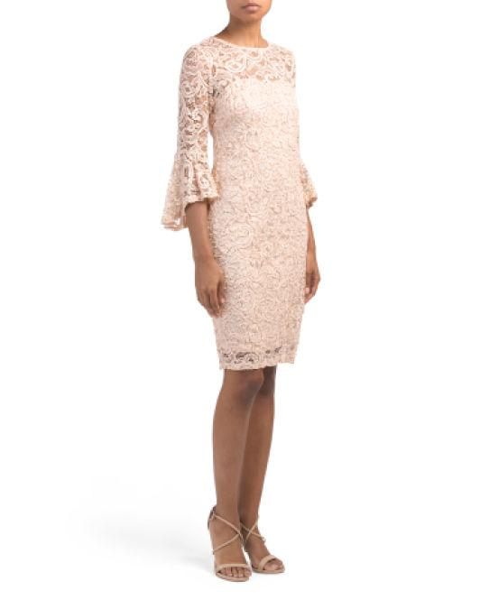 2654704deea07 Lyst - Tj Maxx Petite Bell Sleeve Sequin Lace Dress in Natural