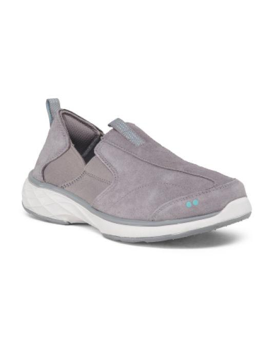 e9f2be0c772 Lyst - Tj Maxx Slip On Comfort Suede Sneakers in Gray